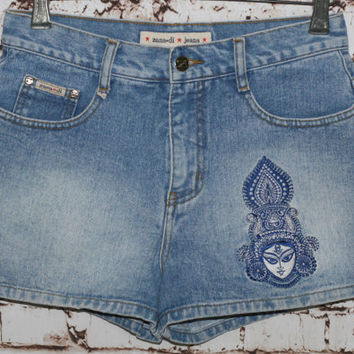 90s High Waist Denim Shorts Embroidered Ethnic Hindi Goddess India Festival Boho Hippie Hipster Grunge Light Wash 28 S M 70s Jean Waisted