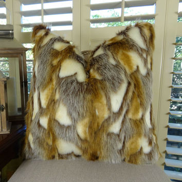 Light Brown Faux Fur Throw Pillow Cover - Brandy Fox Fur Pillow - Gold Light Brown White Faux Fur Throw Pillow - Luxury Soft Fur - SKU 16453
