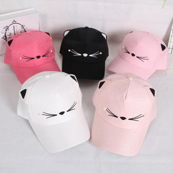 Yyun Kids Baseball Caps Girls Cute Cat Ears Hat Boys  Hats Kids Summer Visor Gorras Hip Hop CapsKawaii Pokemon go  AT_89_9