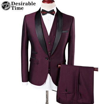 Men Burgundy Wedding Suits Fashion Shawl Collar Men Royal Blue Tuxedo Suits with Pants