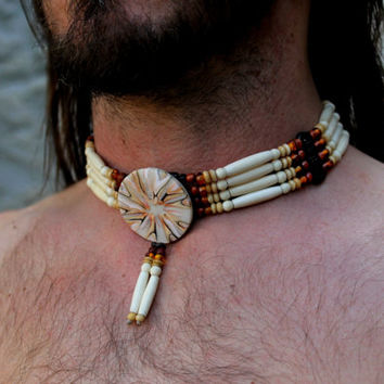 Native Indian choker necklace tribal bones amber shell beads