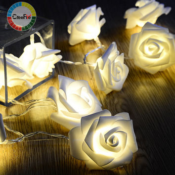 Fashion 20pcs/lot Holiday Lighting LED Novelty Rose Flower Fairy String Lights Wedding Garden Party Christmas Decoration Party