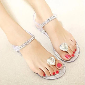 High Quality Crystal Heart Flat Shoes