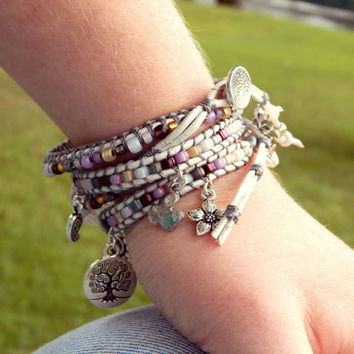Purple and Gray Charm ladder wrap ARM PARTY, stacking bracelet, seed bead and leather boho bracelet, MTO