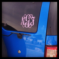 Car Monogram Decal Sticker - Auto Monogram - Car Window Monogram - Glitter Car Monogram