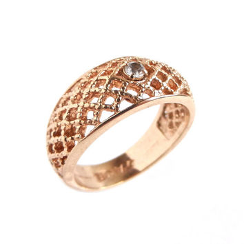 SALE - Vintage Gold Tone Rhinestone Ring -  Size 6 Avon Rhinestone 1970s Basketweave Costume Jewelry / Lattice Lace Faux Diamond