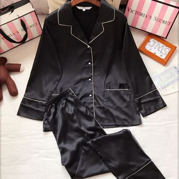 Victoria's Secret Women Men Silk Satin Shirt Pants Trousers Robe Sleepwear Loungewear Set Two-Piece