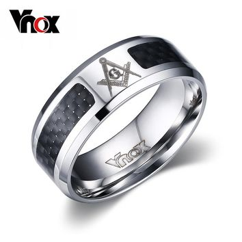 Vnox Masonic Men Ring Stainless Steel & Carbon Fiber 8mm Punk Wedding Jewelry US size 4 5 6 7 8 9 10 11 12