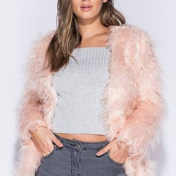 Pink Shaggy Faux Fur Coat