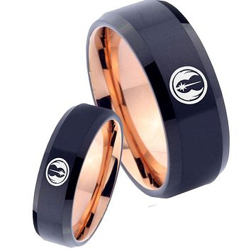 His Hers Star Wars Jedi Bevel Tungsten Rose Gold Promise Ring Set