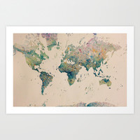 Watercolor World Map #2 Art Print by Shannon Valentine