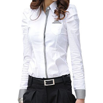 Korean Style Cotton Womens Blouse 2015 Long Sleeve Collar Puffy Shoulder Buttons Pocket Formal Work Blouses & Shirts For Woman