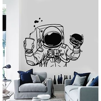 Vinyl Wall Decal Spaceman Cosmonaut Space Burger Drink Fast Food Stickers Mural (g1183)