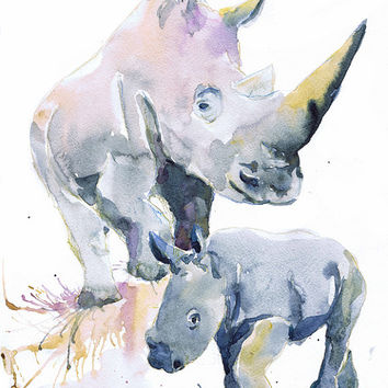 Watercolor Rhino with baby , painting , Rhinoceros, wall decor, boy nursery art, art print, nursery decor, children art, Illustration