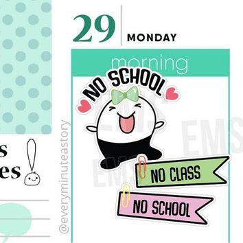 Beanie No school no class Student planner stickers back to school college, holiday,  erin condren academic, teacher stickers, college S209