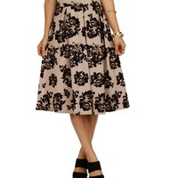 Taupe Flocked Rose Pleated Midi Skirt