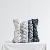 Black and White Plaited Pillowcase / Unique Pillow / Hand Dyed Pillow Covers / Decorative Braid Throw / Handmade Cushions.