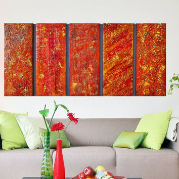 Wood Textured Acrylic Paintings - Large Contemporary Painting - Multi Panel Art -  Large Wall Art - Large Modern Art  -  Abstract Paintings