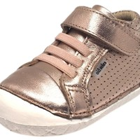 Old Soles Girl's Pave Cheer Copper Leather High Top Elastic Hook and Loop Walker Baby Shoe Sneaker