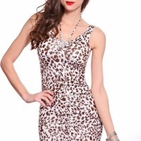 Brown White Rhinestone Decor Halter Top V Neck Ruched Sides Sexy Dress