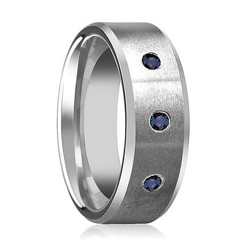 JOSIAH 3 Blue Sapphires Tungsten Men's Wedding Band
