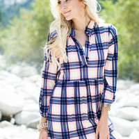 Workin' The Plaid Top Coral/Navy