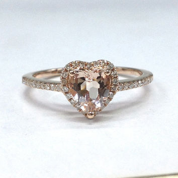Morganite Engagement Ring in 14K Rose Gold!6mm Heart Shaped Cut Pink Morganite,Halo Diamond Wedding Bridal Ring,Can make matching Band
