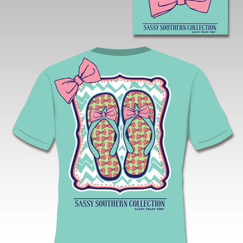 SALE Sassy Frass Southern Collection Preppy Big Bow Flip Flops Chevron Bright Girlie T Shirt