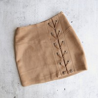 "city nights lace-up ""suede"" skirt - more colors"