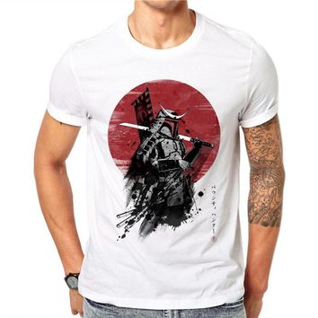 100% Cotton Japanese Samurai Warrior Design T-shirt Fashion Summer Men Short Sleeve Cool Tee Shirts Tops Plus Size Clothes