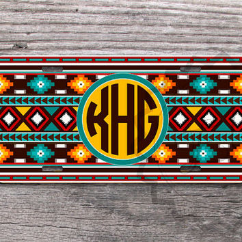 Customized License Plate - Monogrammed Bright Tribal Aztec with Turquoise, Brown and Yellow, front license plate, vanity car tag