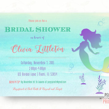 Mermaid Bridal Shower Invitation - Printable Under the Sea Bridal Shower Invitation - Fairytale Bridal Shower Invitation - Coral Watercolor