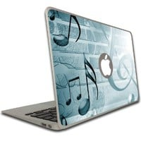 Macbook Air or Macbook Pro (13 inch)- Vinyl, Removable Skin- Music - Teal Music Notes
