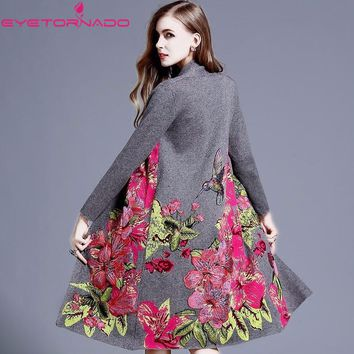 Designer Women winter wool coat flower bird embroidery applique sequined cashmere trench long knitted wool cardigan outwear 8876