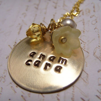 Anam Cara Necklace in brass... Soul Friend... Friendship ... Lower case Font Yellow charms