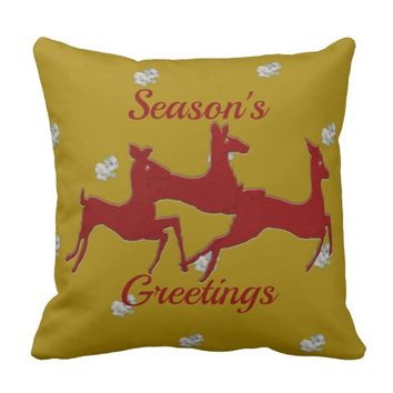 Dark Red Bucks Snowflakes Throw Pillow