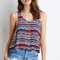 Paisley Print Buttoned Tank
