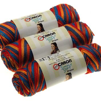 Caron Simply Soft Yarn Central Park Skeins Lot of 3 Acrylic Knitting Crocheting
