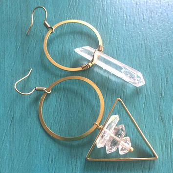 Asymmetric Quartz Crystal Earrings Herkimer Diamond Hoops Gemstone Jewelry Asymmetrical Mismatched Clear Natural Raw Rough Stone Triangle