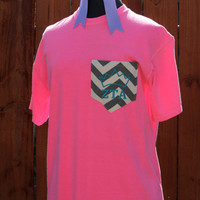 Pink Zeta Tau Alpha Monogram Pocket T-shirt