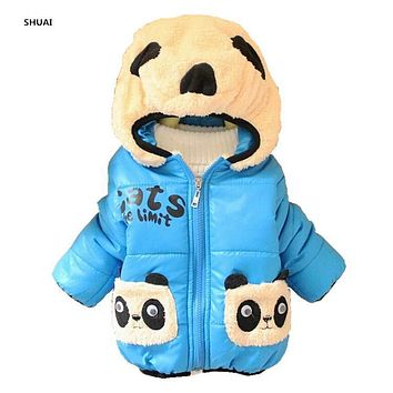 CNJiaYun Baby Girls Boys Jacket Winter Warm Thick Cotton Cartoon Panda hooded Kids Coat Children Lovely Outerwear kids Clothing