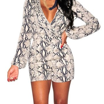 White Printed V-Neck Romper