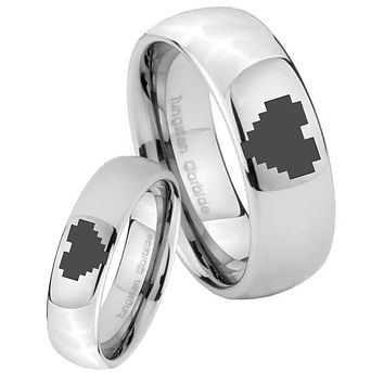 His Her Classic Mirror Dome Zelda Heart Tungsten Carbide Silver Rings Set