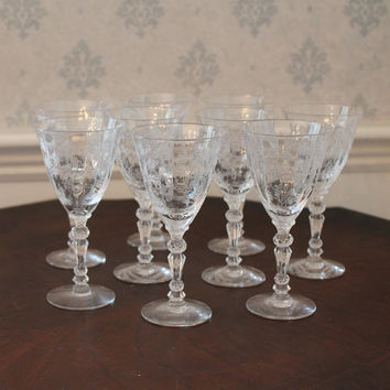 Set of 9 Vintage Etched Fostoria 3 Ounce Claret Wine Glasses