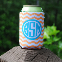 Personalized Can Sleeve - Orange & White Chevron