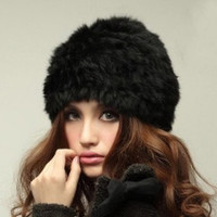 Knitted Rabbit Fur Hat