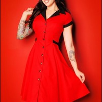 Retro Rockabilly Diner Dress in Red from Heartbreaker Fashion - Dresses - Clothing | Pinup Girl Clothing
