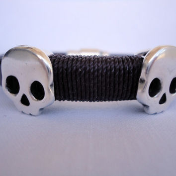 brown Licorice Leather Bracelet with skull zamak