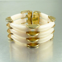 Vargas Lucite Bracelet Modernist Gold Hinged Creamy Pink Opaque 1940s Statement Jewelry