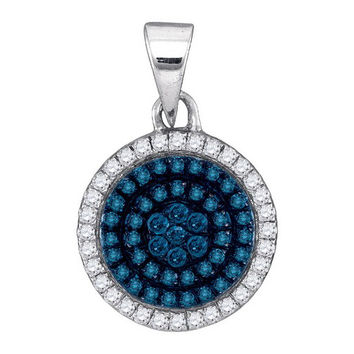 Blue Diamond Micro-pave Pendant in 10k White Gold 0.33 ctw